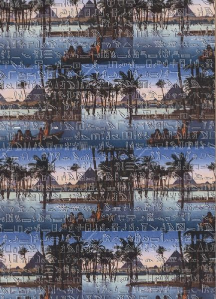 A4 Egyptian Treasures Pyramids Blue Overlay